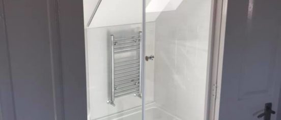 bespoke angled shower installation