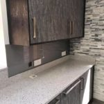 metallic splashback installed