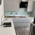 Ice Blue Splashback in kitchen